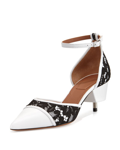 Ranelle Lace & Leather Screw-Heel Pump, White/Black