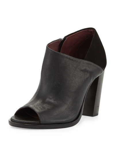 Mabel Leather/Suede Peep-Toe Bootie, Black