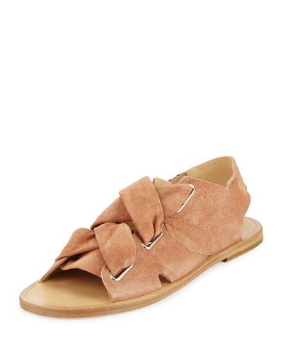 Elda Suede Lace-Up Flat Sandal, Macaroon