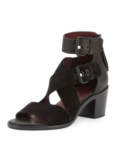 Madrid City Suede/Leather Crisscross Sandal, Black