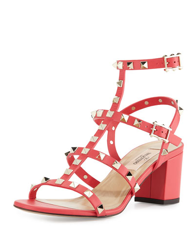 Rockstud Leather City Sandal, Fragola