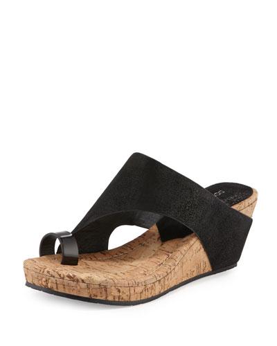 Gille Asymmetric Wedge Slide Sandal, Black