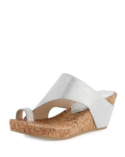 Gille Asymmetric Wedge Slide Sandal, Silver