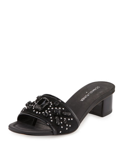 Maxx Jeweled Low-Heel Slide Sandal, Black