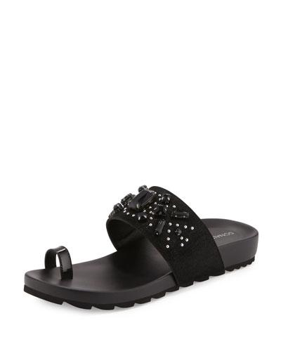 Tulia Jeweled Flat Slide Sandal, Black