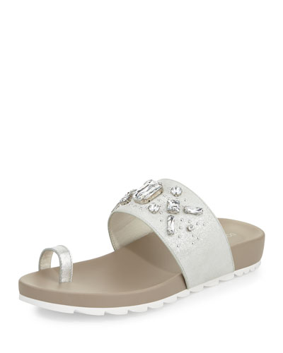 Tulia Jeweled Flat Slide Sandal, Silver