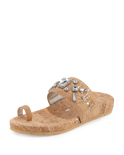 Tulia Jeweled Cork Flat Slide Sandal, Silver