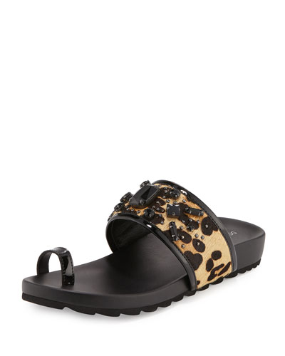 Tulia Jeweled Calf-Hair Slide Sandal, Black/Natural