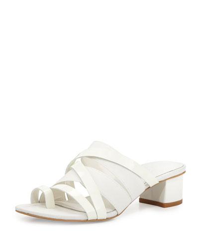 Melisa Patent Strappy Slide Sandal, White