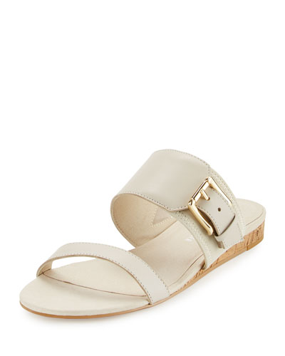 Bien Double-Strap Buckle Slide Sandal, Stone