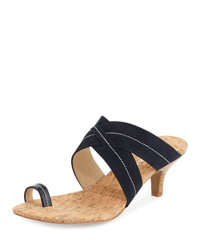 Reio Suede Crisscross Slide Sandal, Navy
