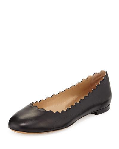 Lauren Scalloped Leather Ballet Flats, Black