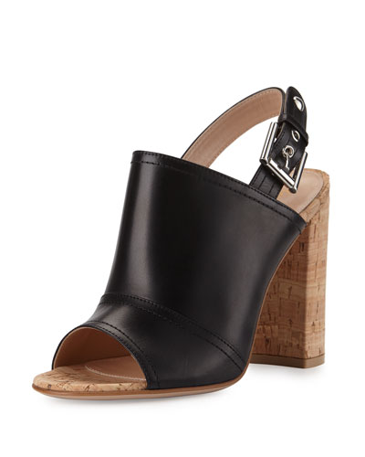 Sierra Leather Slingback Sandal, Black