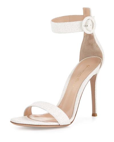 Portofino Glitter Ankle-Wrap Sandal, Bright White