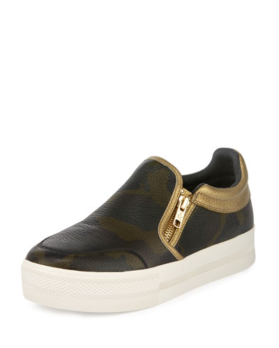Jordy Camo-Print Leather Skate Sneaker, Green/Multi