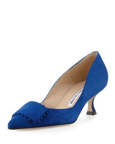Bottopla Square-Detail Suede Pump, Cobalt