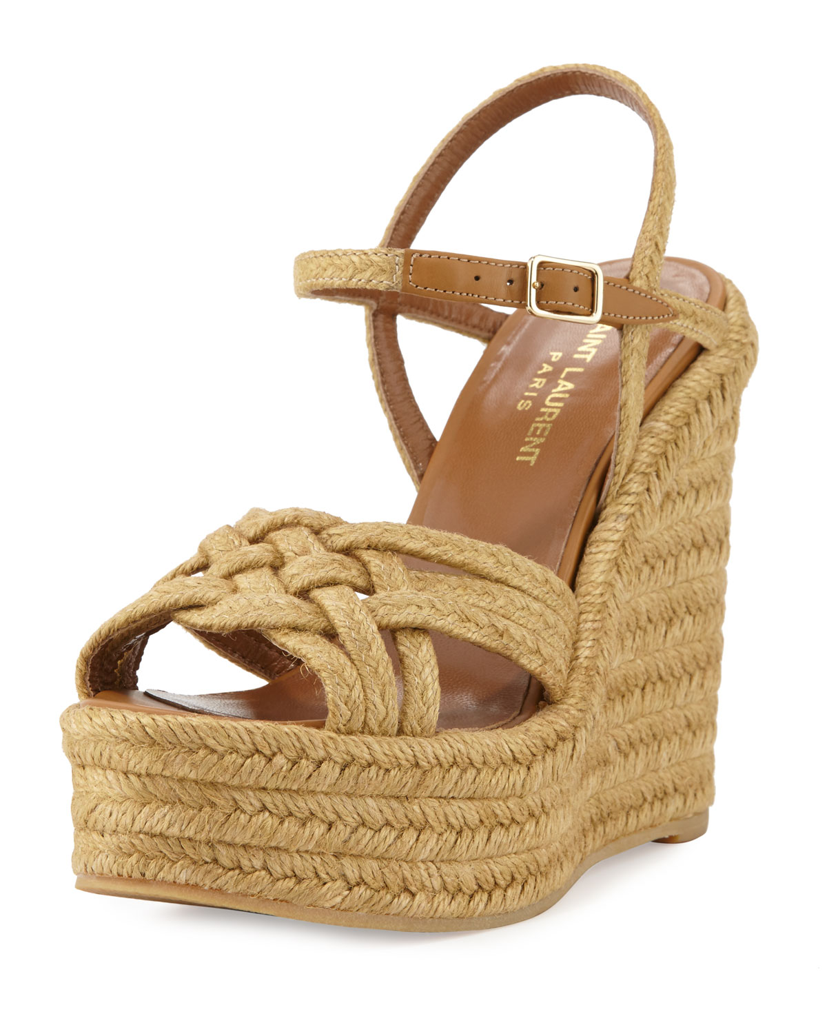 Braided Jute Wedge Sandal, Almond