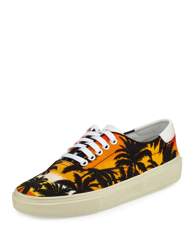 Palm-Tree Low-Top Sneaker, Black/Multi
