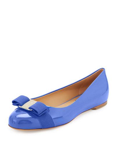 Varina Patent Bow Ballerina Flat, Bleu Indie