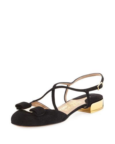 Felma Strappy Suede Sandal, Black (Nero)