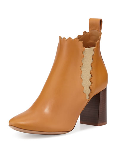 Scalloped Leather Chelsea Boot, Peanut Butter