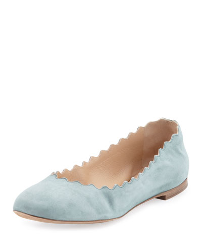 Lauren Scalloped Suede Ballerina Flat, Blue Lake