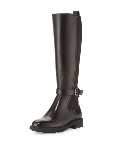 Furseo Leather Knee Boot, Nero/Crust