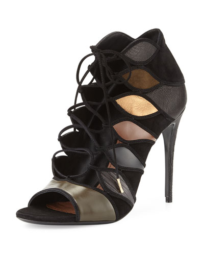 Felicity Leather Lace-Up Sandal, Foret/Nero/Cacao