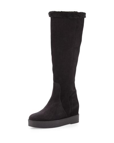 Falco Shearling Fur Knee Boot, Nero