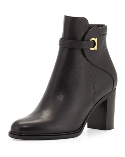 Florian Leather 70mm Ankle Boot, Black