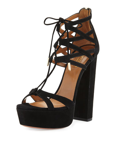 Beverly Hills Plateau 140mm Sandal, Black