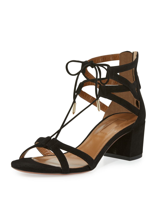 Beverly Hills Suede Lace-Up Sandal, Black
