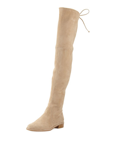 Lowland Suede Over-the-Knee Boot, Buff