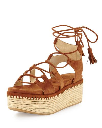 Romanesque Lace-Up Platform Sandal, Saddle