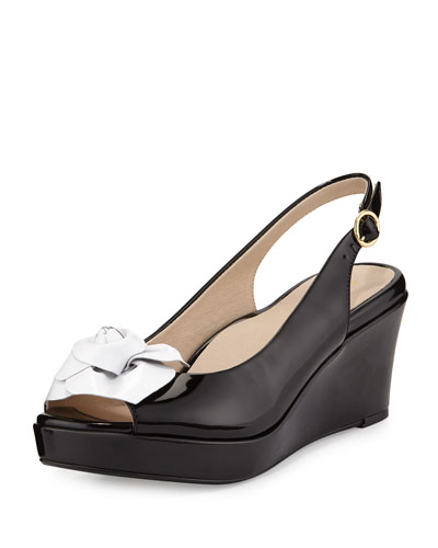 Star Patent Flower Slingback Wedge Sandal, Black/White