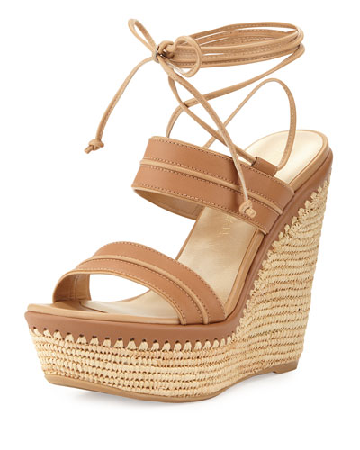 Abandon Leather Ankle-Wrap Wedge Sandal, Meil