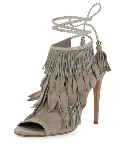 Fringe Suede 105mm Sandal, Light Gray