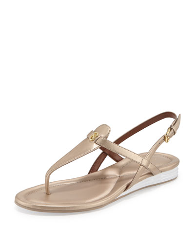 Violette II Leather T-Strap Sandal, Soft Gold