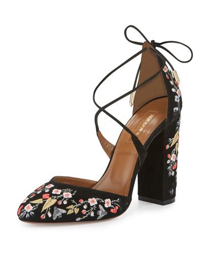 Karlie Embroidered Suede Block-Heel Pump, Black