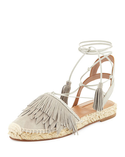 Fringe Suede & Leather Espadrille Flat, Light Gray
