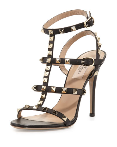 Rockstud Leather T-Strap 105mm Sandal, Nero