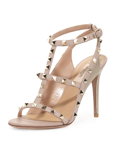 Rockstud Colorblock Caged 100mm Sandal, Sasso/Poudre