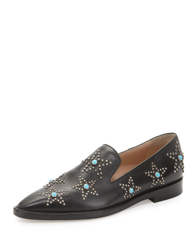 Star Cabochon Leather Loafer, Black/Turquoise