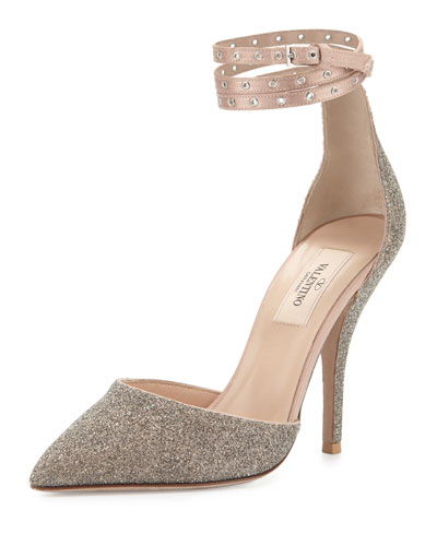 Glitter Pointed-Toe Ankle-Wrap Pump, Gold