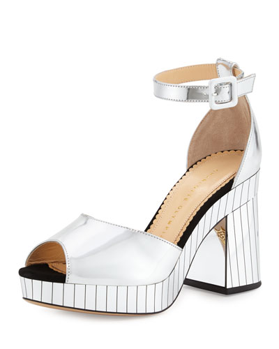 Elie Striped Ankle-Wrap Sandal, Silver