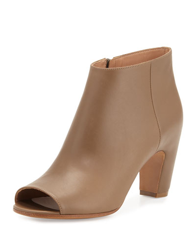 Open-Toe Leather 75mm Bootie, Olive