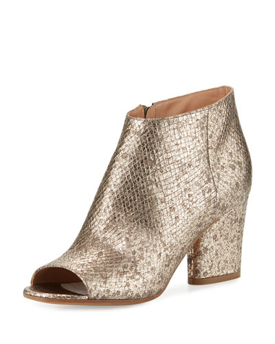 Snake-Embossed Open-Toe Bootie, Champagne