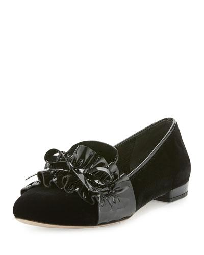 Ruched-Patent Velvet Loafer, Black