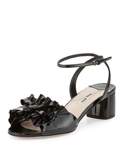 Ruffled Patent 45mm Sandal, Nero