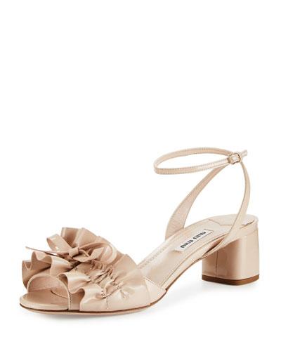 Ruffled Patent 45mm Sandal, Cipria